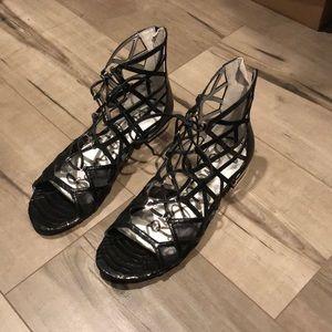 BNWT Black lace up sandals